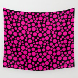 Black and pink polka dot pattern . Wall Tapestry