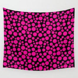 Black and pink polka dot pattern . Wall Tapestry