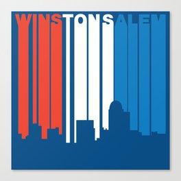 Red White And Blue Winston-Salem North Carolina Skyline Canvas Print