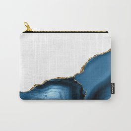 Navy Blue Agate with Gold Metallic Trim Carry-All Pouch