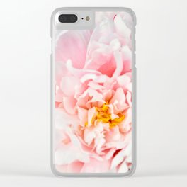 Peony Flower Photography, Pink Peony Floral Art Print Nursery Decor A happy life - Peonies 2 Clear iPhone Case