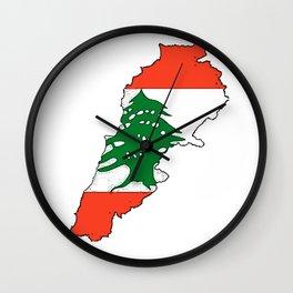Lebanon Map with Lebanese Flag Wall Clock
