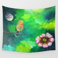 birdy Wall Tapestries featuring Birdy Dreams by ANoelleJay