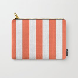 Outrageous Orange - solid color - white vertical lines pattern Carry-All Pouch