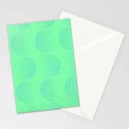 Blue Dot Circles on Green Background Stationery Cards