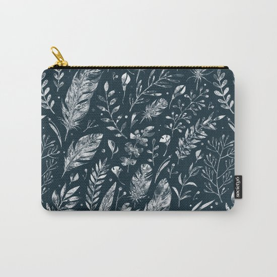Feathers And Leaves Abstract Pattern Black And White Carry-All Pouch