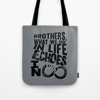 gladiator Tote Bags featuring echoes in eternity.. gladiator... inspirational quote by studiomarshallarts