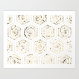 Golden Minimal Marble (Marbling) Simple Hexagon Geometric Design Pattern (Sophisticated Clean Chic) Art Print