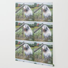beautiful Bearded Collie dog art from an original painting by L.A.Shepard Wallpaper