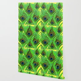 YELLOW-GREEN PEACOCK FEATHERS ABSTRACT ART Wallpaper