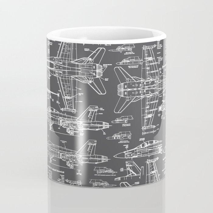 F-18 Blueprints // Charcoal-Grey Coffee Mug