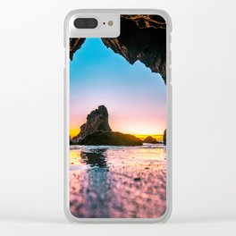 Ocean Cave At Sunset Clear iPhone Case
