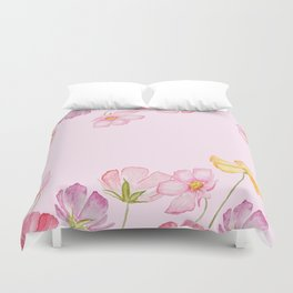 colorful cosmos flwoer in pink background Duvet Cover