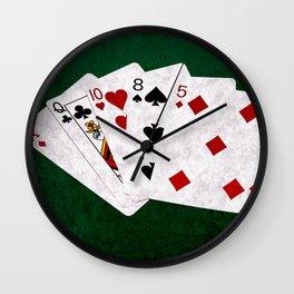 Poker Hand High Card Ace Queen Ten Eight Five Wall Clock