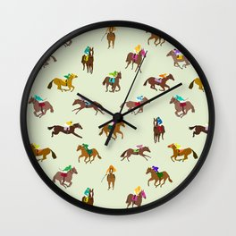 Off to the Horse Races (Mint) Wall Clock