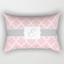 "Baby Pink Geometric Pattern with Silver ""E"" Monogram Rectangular Pillow"
