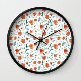 Watercolor floral - deep oranges Wall Clock