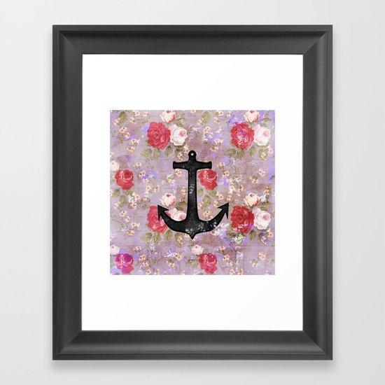 Vintage Nautical Anchor Purple Pink Floral Pattern  Framed Art Print