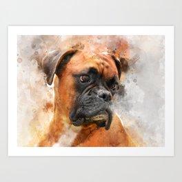Boxer Dog Thinking Art Print