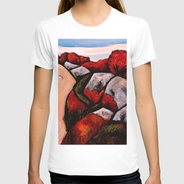 Camden, Maine, The Blueberry Highway, Autumn Red New England landscape painting by Marsden Hartley T-shirt