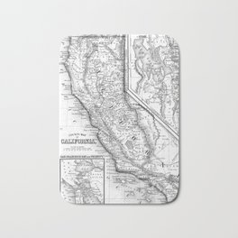 Vintage Map of California (1860) BW Bath Mat