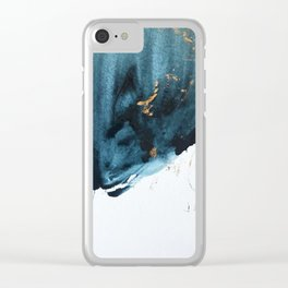 Sapphire and Gold Abstract Clear iPhone Case
