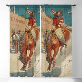 """N C Wyeth Western Painting """"The Rodeo"""" Blackout Curtain"""
