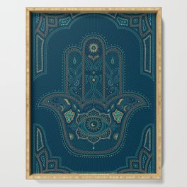 Hamsa Hand in Blue and Gold Serving Tray