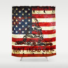 Don't Tread on Me - American Flag And Gadsden Flag Composition Shower Curtain