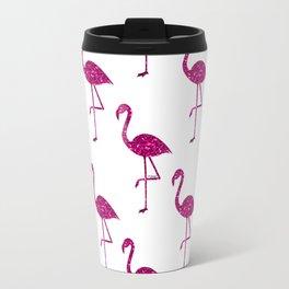 Sparkly flamingo Pink glitter sparkles pattern Travel Mug