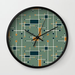 Intersecting Lines in Olive, Blue-green and Orange Wall Clock