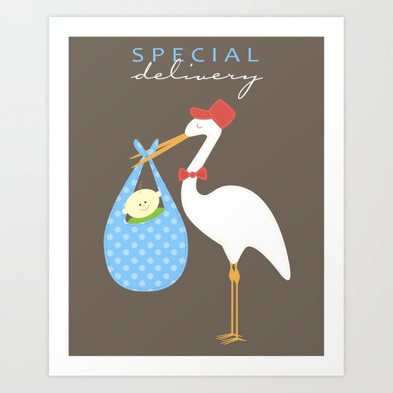 Special Delivery Baby Boy Art Print