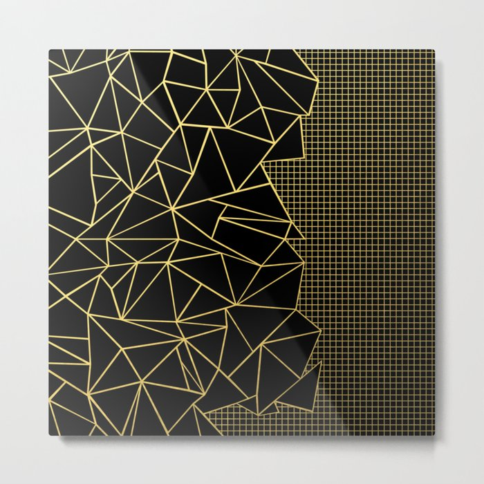 Abstract Outline Grid Gold Metal Print