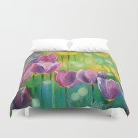 tulips Duvet Covers featuring Tulips by OLHADARCHUK