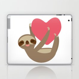 Valentines day card. Funny sloth with a red heart Laptop & iPad Skin