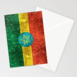 Vintage Aged and Scratched Ethiopian Flag Stationery Cards