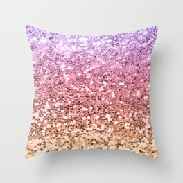 Pastel Mermaid Glitters Sparkling Cute Girly Background Gold Pink Throw Pillow