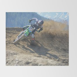 Dishing the Dirt - Motocross Champion Race Throw Blanket