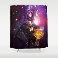 mass effect Shower Curtains featuring  Tali'Zorah vas Normandy (Mass Effect) Art by Anabel Amis Art