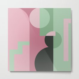 Art Deco Composition Pink and Green #6 Metal Print