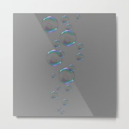 IRIDESCENT SOAP BUBBLES GREY COLOR DESIGN Metal Print