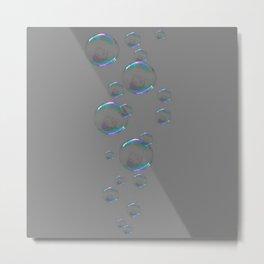 IRIDESCENT SOAP BUBBLES GREY COLOR DESIGN Metal Print