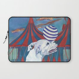 White Boxer Dog and a Balancing Ball Laptop Sleeve