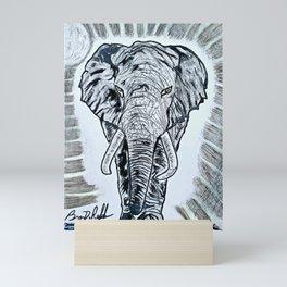 'TEMBO' Original Elephant Art Drawing Mini Art Print