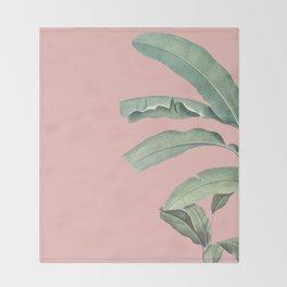 Green leaves on rose ink Throw Blanket