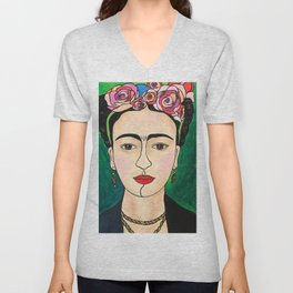Frida Khalo Portrait Unisex V-Neck