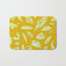 Golden palm pattern with bright mint color Bath Mat