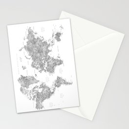 """Watercolor world map with LABELS IN SPANISH, """"Jimmy"""" Stationery Cards"""