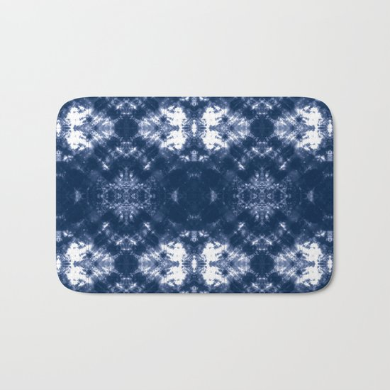 Shibori Tie Dye 1 Indigo Blue Bath Mat