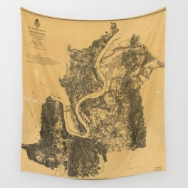 Map of Civil War Battlefield of Chattanooga (1875) Wall Tapestry